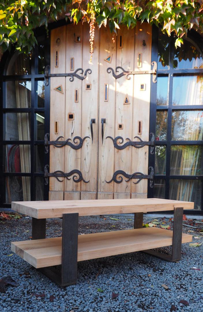 Bijzet tafel hout en staal